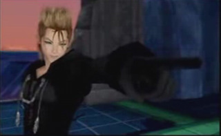 Demyx as he confronts Sora, Donald and Goofy at Hollow Bastion