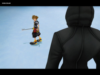 A hooded Riku after Sora confronts him in The Land of the Dragons