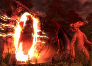 Clannfear in front of an Oblivion Gate