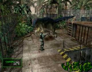 Dylan squaring off against an Allosaurus.