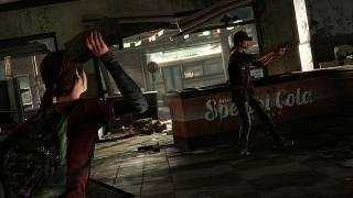 The AI-controlled Ellie preparing to throw a brick at a hunter