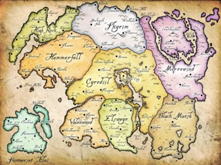 Every game in the Elder Scrolls series takes place in a different part of the continent  of Tamriel.