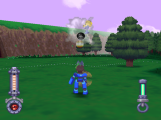 Mega Man, roaming around the forest area.