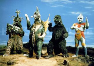 from left to right: Megalon, Gigan, Godzilla, Jet Jaguar