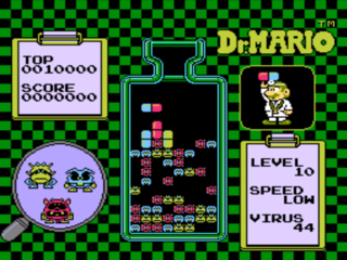 Gameplay in Dr. Mario