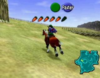 Link riding Epona in Hyrule Field