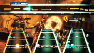 The classic Guitar Hero gameplay in action.