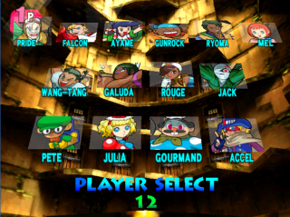 The fourteen playable fighters of Power Stone 2.