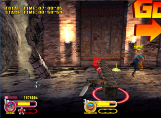 Fighters chased by a giant rolling rock in Tomb stage.