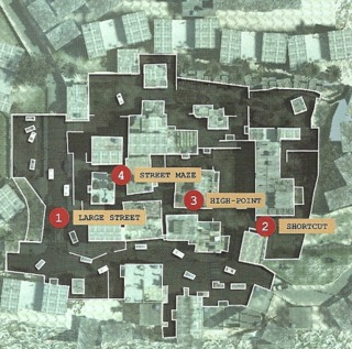 Map showing the points of interests in Favela
