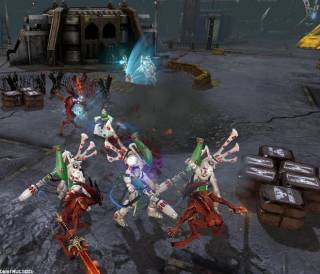 A group of Biel-Tan Wraithguard holding off demonic Bloodletters.