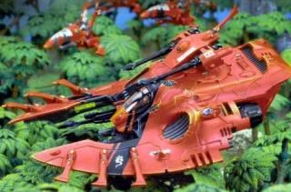 A Saim-Hann Wave Serpent with Jetbike escorts scours a jungle planet for enemies