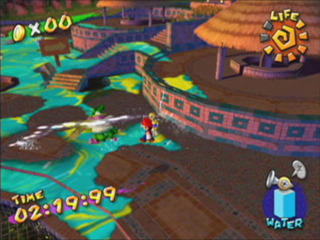 Mario removing the slime from Isle Delfino.