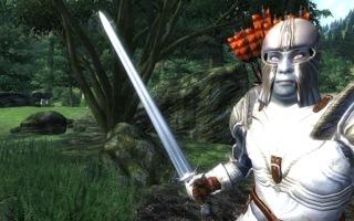 An Oblivion character wears steel armor and wields a steel longsword. He is also a vampire.