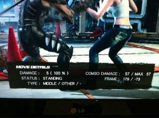 DOA5 features the option to display move data for advanced players