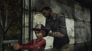 Lee teaching Clem how to shoot.