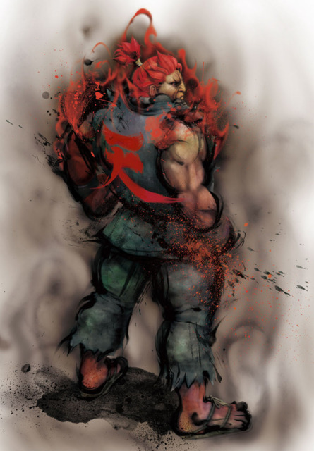 The Dark Hadou's red aura turned Akuma's hair red and spikey, along with the demonic face.