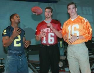 Charles Woodson, Ryan Leaf, and Peyton Manning on Draft Day 1998.