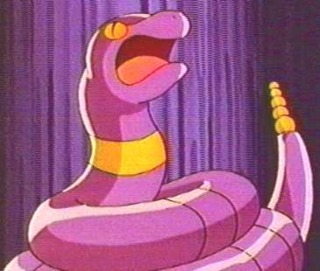 Ekans on the Anime. Jessie used to own one that evolved into Arbok