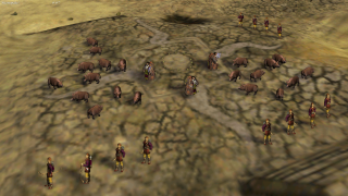 Pig wrangling is just one of the bizarre tasks on display in Myth II multiplayer.