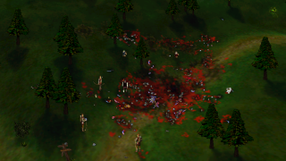 Heated battles frequently litter the environment with gore and debris.