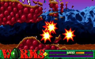 The illusive Mole Bomb, seen here in use against two subterranean worms