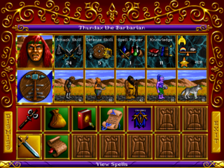 A hero's attributes, items, spells, and creatures can be viewed at any time.