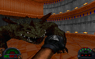 Kyle Katarn must fight off vicious kell dragons, among other things, in his pursuit of the Dark Trooper Project.