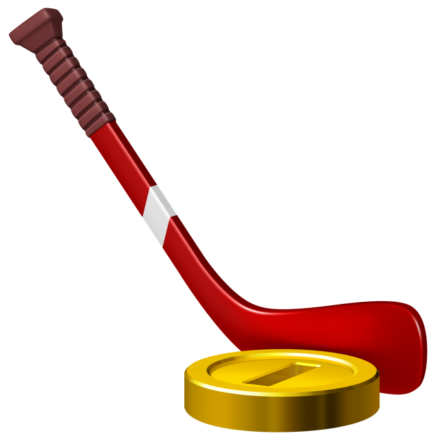 A hockey stick and a coin as a puck.