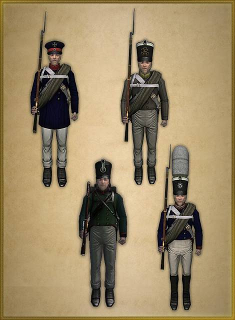 Prussian infantry, foot-guards and skirmishers