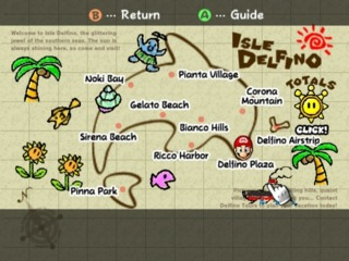 The Guidebook's map of Isle Delfino