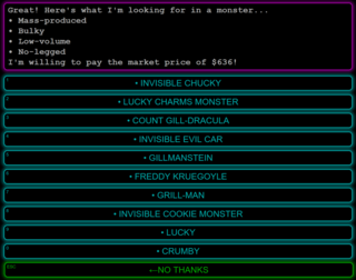 The selling interface.