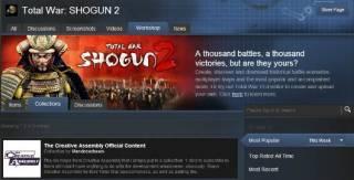 As of September 2012, Shogun 2 supports Steam Workshop
