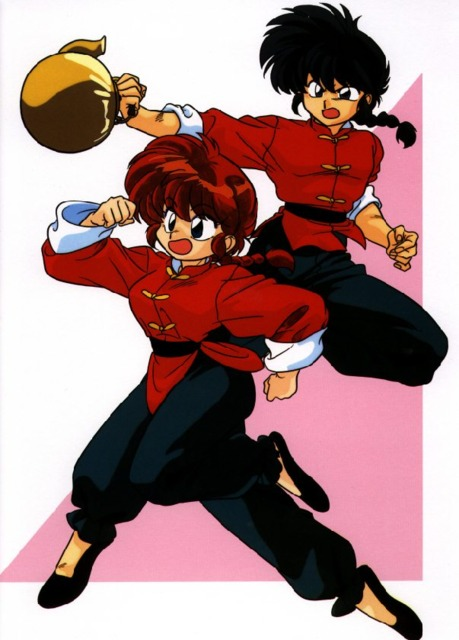 Ranma Saotome of Ranma 1/2 is cursed to become a girl when splashed with cold water.