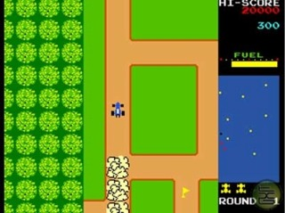 Namco's Rally-X (1980), the first scrolling open-world video game.