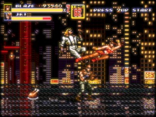 Fighting one of the diverse boss enemies in the much improved sequel Streets of Rage 2