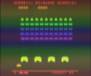 Space Invaders (with color overlay in cabaret & cocktail arcade cabinets)
