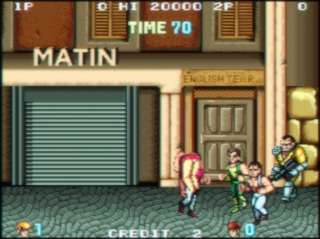 The Black Warriors kidnapping Marian in the Arcade version