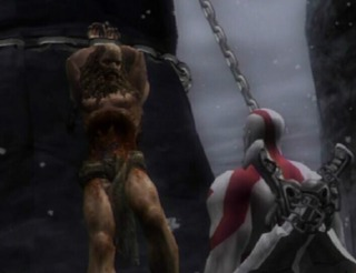 Kratos finding Prometheus and his eternal punishment for defying Zeus by helping humanity.
