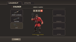 The default Loadout screen for a Soldier. Does not show Taunts.