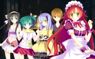 Characters in Irotoridori no Sekai, left to right (Mio, Tsukasa, Kyou, Ayuma, Kana)