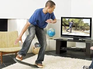 Promotional image depicting use of the skateboard peripheral.