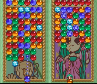 The Super Famicom version, replacing the little clowns with the characters themselves.