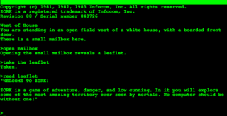 This screenshot of Zork shows text written from a second-person perspective.