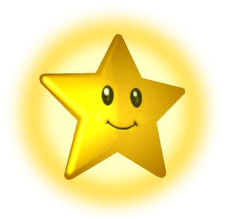 A Starman from Mario Kart: Double Dash!! with a smile.