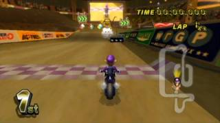 Waluigi is getting ready for the start of the race in his very own stadium as seen in Mario Kart Wii.