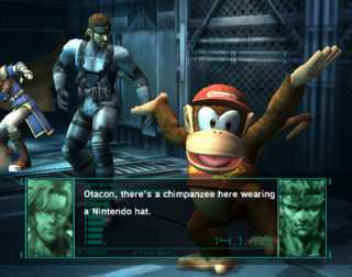 Otacon as seen in Super Smash Bros. Brawl talking to Snake about Diddy Kong.