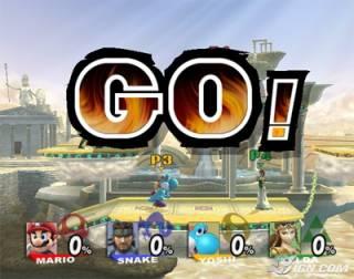 Mario, Snake, Yoshi and Zelda squaring off in Super Smash Bros. Brawl.