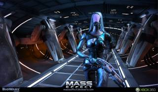 Tali, the Quarian, equipped with the shotgun.