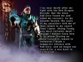 Kenshi's bio card from Mortal Kombat: Deception